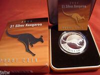 Australia .  2004  $1 Kangaroo -   1oz Silver - Proof - Cased