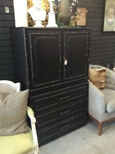 Vintage Hand Painted Armoire - Refurbished (Black Chalk Paint w/ Gold Accents)