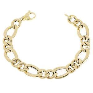 "Women's Italian 14k Yellow Gold Hollow Figaro Chain Bracelet 7.5"" 12mm 6.7 grams"
