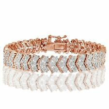 Rose Gold Tone 1ct Natural Diamond Miracle Set Chevron Tennis Bracelet in Brass