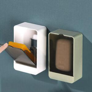 Wall-mounted Soap Dish Holder Storage Box Case Bath Shower Rack W/ Lid Home