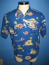 Warner Bros Looney Tunes Bugs Taz Surf Boards SS Hawaiian Camp Shirt M Mint