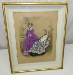 Antique Victorian Fabric Embellished Fashion Print Shadow Box La Mode Illustree