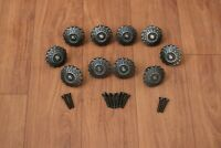 Vintage Old cast iron cabinet drawer Flower door knobs handle pull rustic 10 pcs