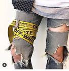 2017 Off White Tie Down Yellow Nylon Cotton Big IRON Head Industrial Belt 200CM