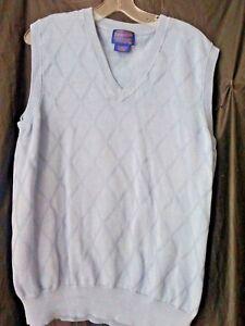 Pendleton Mens XL Light Blue Vest Diamond Print V-Neck Mercerized Cotton Casual
