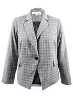 Calvin Klein Women's Plus Size Plaid Single-Button Blazer 14W, Black/Cream