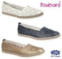 SALE - LADIES LEATHER Slip On Wide Summer Shoes - Navy White  Size 3 4 5 6 7 8 9