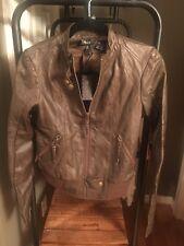 Women's Miss Me Dark Brown Faux  Leather Moto Zip Jacket S