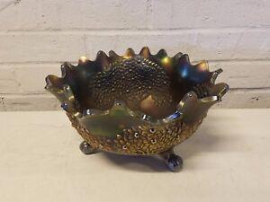 """Old Vintage Antique Orange Tree Carnival Glass 10"""" Iridescent Fruit Bowl"""