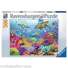 Ravensburger Puzzle 500 Piece Puzzles New Sea Turtle Tropical Colorful Plants