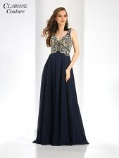 298f2c8a2501 Clarisse Prom Dress Evening Long Formal Cocktail Sexy Navy Size 0