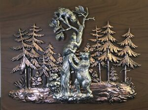 Bear Wall Art 3D Copper Tone Wood Plaque Wildlife Lodge Cabin Forest Cubs 16x12