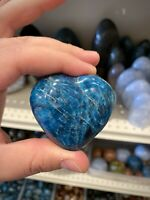 "Blue Apatite Crystal Stone Rock Heart Shape Crystals Yoga Reiki 2,5x2"" ZENDA"