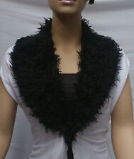 FASHION FAUX FUR COLLAR : PRE CUT AND FULLY LINED : SHAGGY BLACK : #T549 -