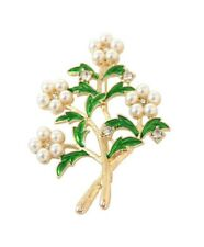 Gold tone enamel leaf and pearl flower brooch with crystal