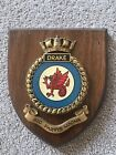 VINTAGE Hand Painted HMS DRAKE Wooden Plaque ~ Shield ~ Royal Navy GC