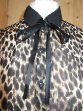 Collared Animal Print Blouse No Tops & Shirts for Women
