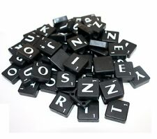 100 BLACK PLASTIC SCRABBLE TILES WHITE LETTERS NUMBERS FOR CRAFTS UK SELL