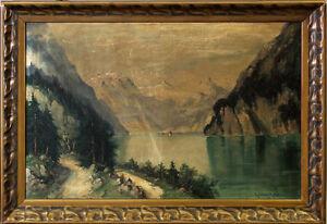 99860181 Ölgemälde signiert Sattelmair Königssee Alpen Bayern um 1900