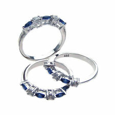 Sterling Silver Rhodium Plated Blue & Clear CZ Ring Set STR00510-6