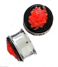PAIR-Cameo Rose Red Steel Double Flare Ear Plugs 10mm/00 Gauge Body Jewelry