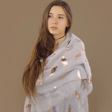 Scarf light Grey Blue Rose Gold Feathers Pattern Rectangle Shawl Wrap Large
