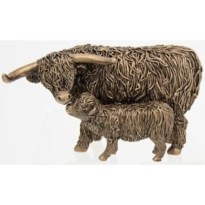 Bronzed Highland Coo Cow And Wee Calf Ornament 200752