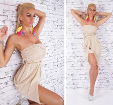 SeXy Miss Chiffon Bandeau Mini Kleid Party Dress Ketten Gürtel 34/36/38 beige
