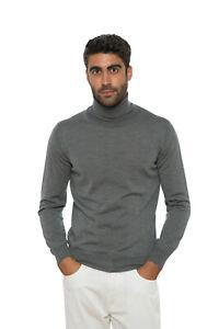 Italian Knitwear ALTEA MILANO Sweater Turtleneck Virigin Wool Grey Size M