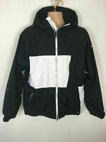 MENS ANIMAL BLACK WHITE ZIP UP HOODED CASUAL LINED JACKET COAT SIZE LARGE