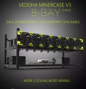 🇺🇸 USA StockVeddha 8 GPU Miner Case Stackable Rig Frame Open NO FANS INCLUDED.