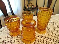 4 Amber Harvest Gold Whitehall Footed Cube 1 Tea Glass, 3 Tumblers