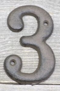 Rustic BROWN Cast Iron Metal House Numbers Street Address # Phone Number 3 THREE