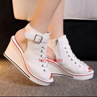 Ladies Open Toe Platform Canvas Sandals Wedge Heels High Top Sneakers Shoes HOT#