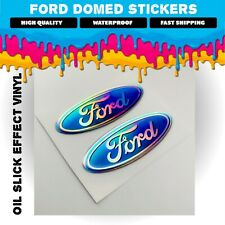 2X Ford 3D Oil Slick Effect Alloy Wheel Stickers Decals Badge GLOSS DOMED GEL
