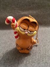 Garfield Christmas Ornament - Holding Candy Cane - Ceramic Cat
