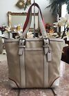 Coach Hampton Beige Canvas Ivory Leather Shoulder Medium Bag Purse F10711 EUC