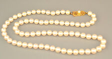 "GENUINE MIKIMOTO 6 - 6.5 MM PEARL NECKLACE 20.5"" LONG WITH 18K YELLOW GOLD CLASP"