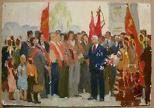 Russian Ukrainian Soviet Oil Painting Realism people genre demonstration parade