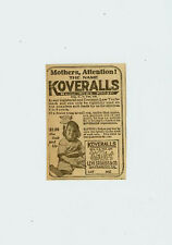 Levi Strauss Child Koveralls !RARE! Blue Jeans Overalls 1920 Levis Newspaper Ad