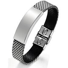 """Mens Unisex Stainless Steel Black Rubber Bracelet 8"""" G17"""