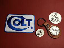 COLT GUNS , LEATHER KEY RING,  BADGE & PATCH SET  & FREE PHONE STICKER