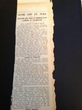 66-6 1938 Falmouth Article Sunk Off St Ives Sylva Belle France Ilse Sweden Steam