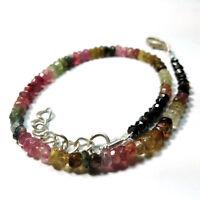 "Natural MULTI TOURMALINE 3-4mm Rondelle Jewelry Beads 7"" Adjustable Bracelet"