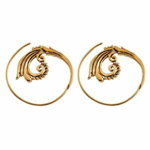 81stgeneration Brass Gold Tone Spiral Flower Tribal Earrings