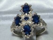 Victorian Design Solid English Sterling Silver Natural Sapphire Ring