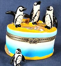 African Penquins in the Surf Ceramic Trinket Box sealife decor