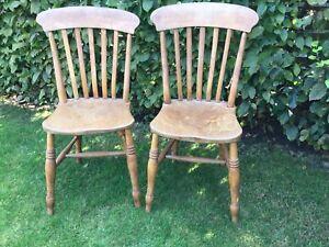 Pair Antique Victorian Stick Back Kitchen Chairs Elm Seats