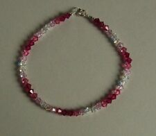 Sparkly STERLING SILVER 925 BRACELET Pink CRYSTAL Swarovski Elements BRIDAL